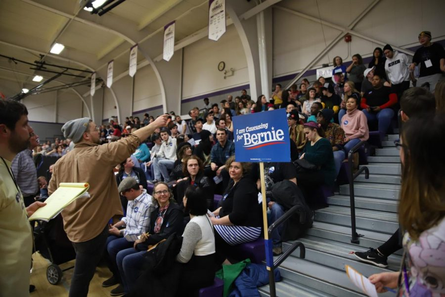 Supporters of Sen. Bernie Sanders at the Mt. Vernon South Precinct in Mt. Vernon, IA, on Feb. 3, 2020.