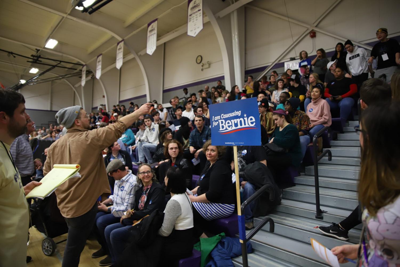 Supporters of Sen. Bernie Sanders at the Mt. Vernon South Precinct in Mt. Vernon, IA, on Feb. 3, 2020.