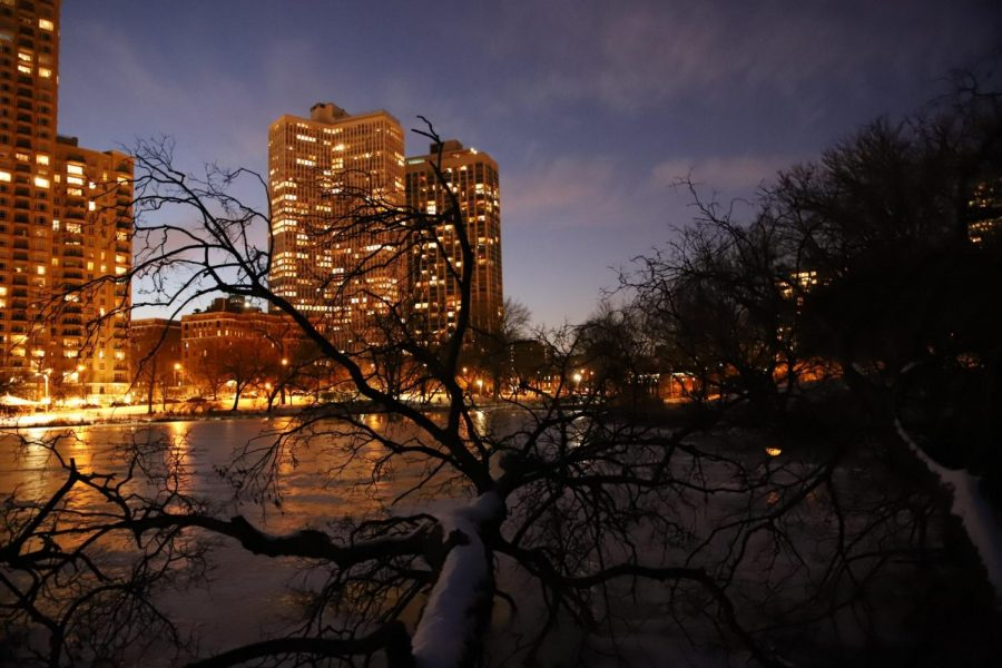 On the east side of North Pond, buildings' glow reflects on the water. It is one of many spots DePaul students can enjoy the beauty of winter in Lincoln Park.