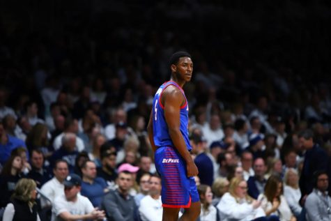 Jalen Coleman-Lands looks on as DePaul falls to Butler on Feb. 29.
