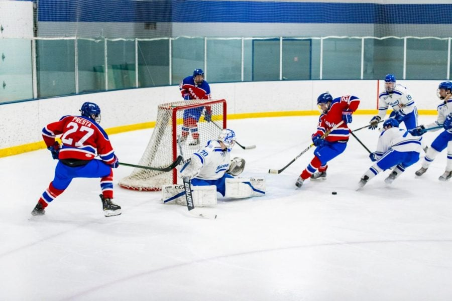 DePaul takes a shot on net against the Concordia Falcons in Fond du Lac, Wisconsin on Friday, Feb. 14, 2020.
