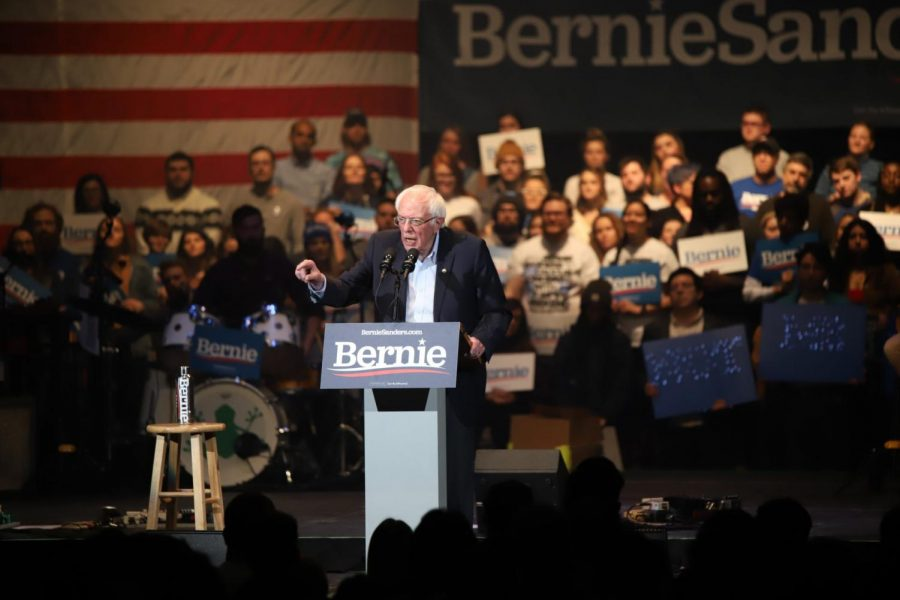 Democratic+presidential+candidate+Bernie+Sanders+speaks+during+a+rally+two+days+before+the+Iowa+caucus+in+Cedar+Rapids+on+Feb.+1%2C+2020.