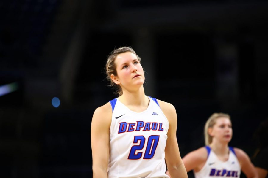 Senior guard Kelly Campbell looks on as DePaul took on Providence on Sunday at Wintrust Arena.