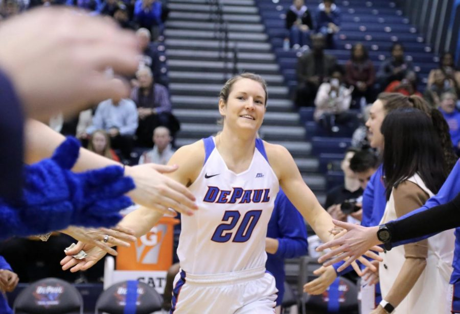 DePaul senior guard Kelly Campbell is recognized during the starting lineups before the Blue Demons hosted Xavier on Feb. 16.
