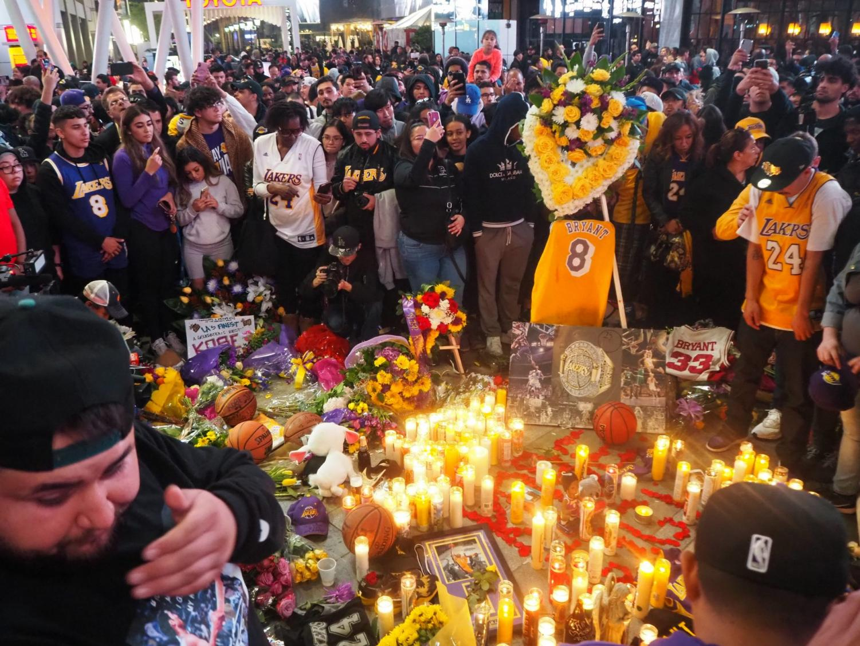 Fans mourn Kobe Bryant outside of the Staples Center on January 26, 2020.