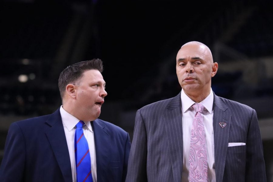 DePaul+head+coach+Dave+Leitao+heads+back+to+the+locker+room+with+his+team+down+46-26+at+the+break+against+Villanova+Wednesday+night+at+Wintrust+Arena.