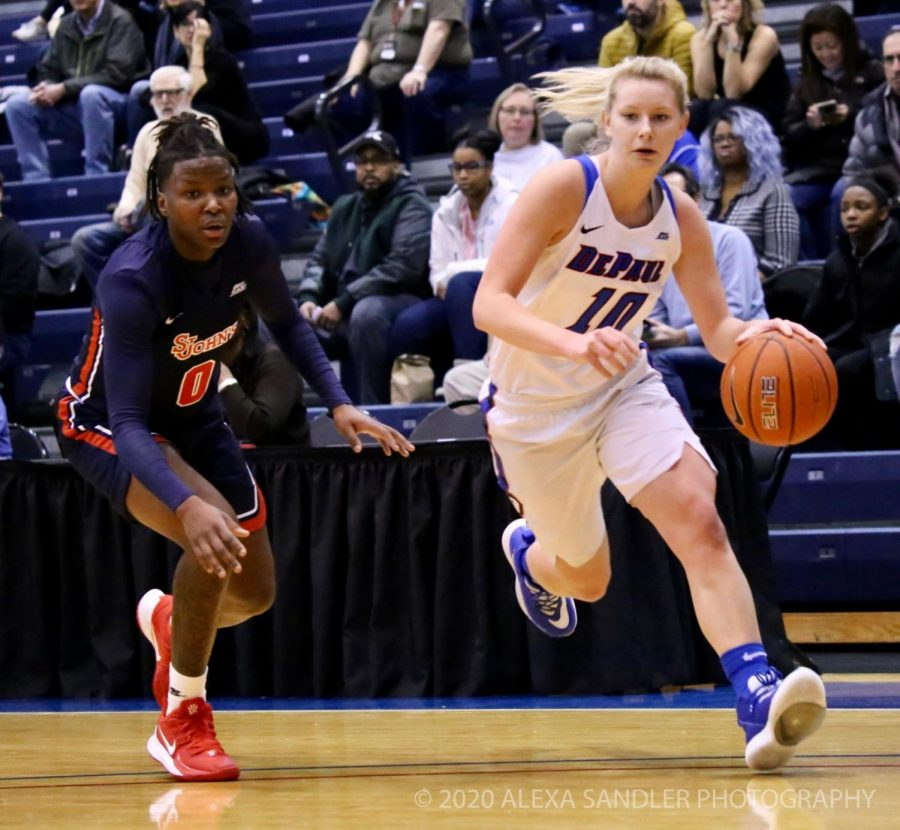 DePaul sophomore guard Lexi Held drives to the basket against St. John's on Jan. 12 at McGrath-Phillips Arena.