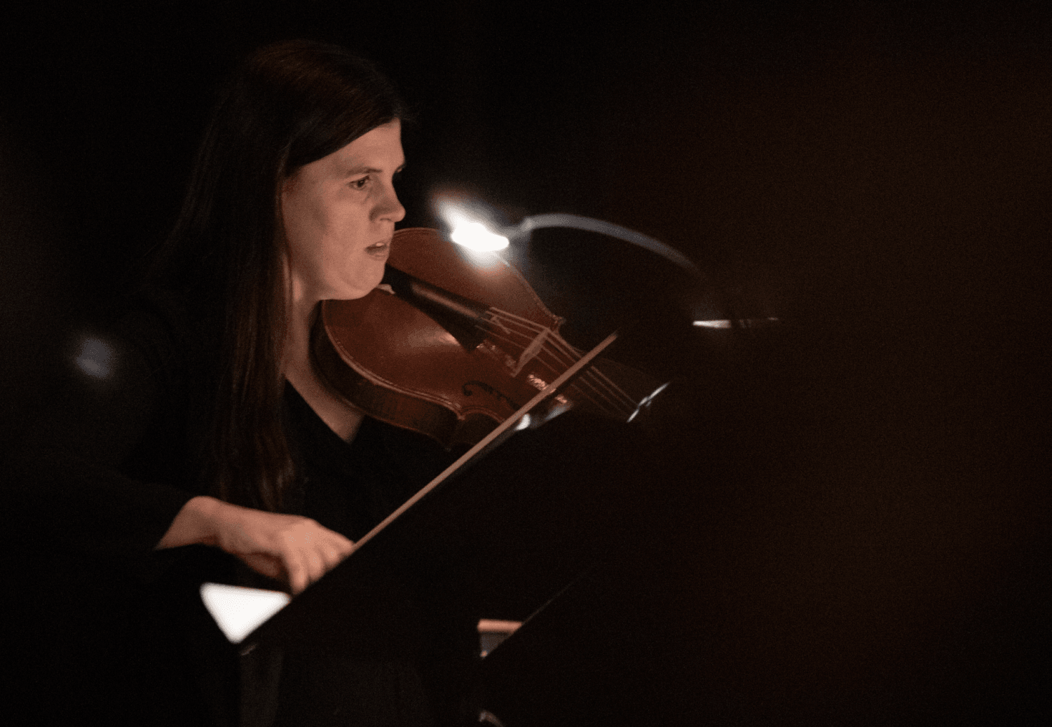 Brandi Berry Benson, a violin professor at DePaul, playing music inpsired by Isabelle d'Este. In this image, she is playing viola at The Newberry Consort.