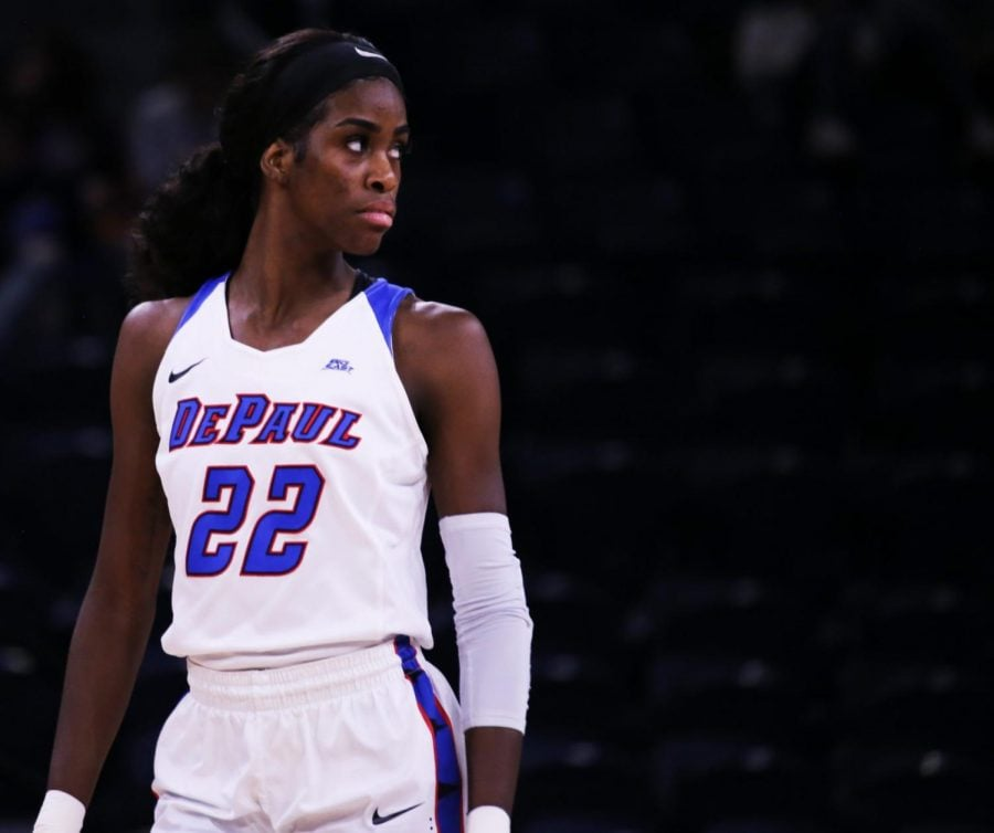 Chante Stonewall looks over her shoulder during a game against Creighton on Jan. 31. Stonewall scored 24 of her career-high 29 points in the first half against Seton Hall.
