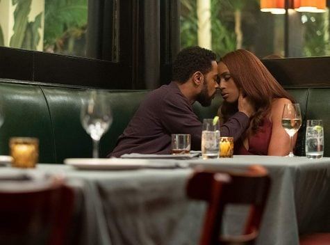 "Michael Block (Lakeith Stanfield) Mae Morton (Issa Rae) star in the new romanace drama, ""The Photograph."" Here, they have their first kiss during  their first date."