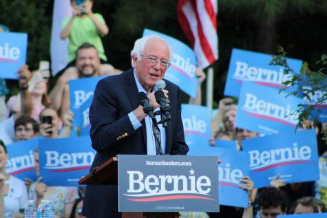 Senator Bernie Sanders speaking at a rally at UNC-Chapel Hill.