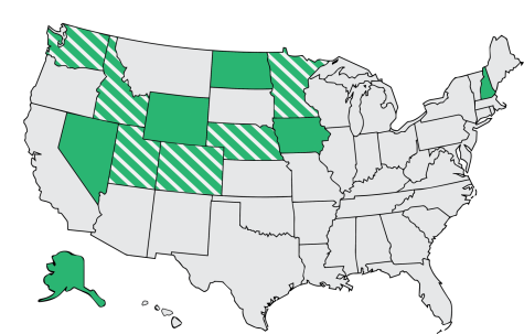 Key: Solid green: caucus states Striped green: recently changed to primaries