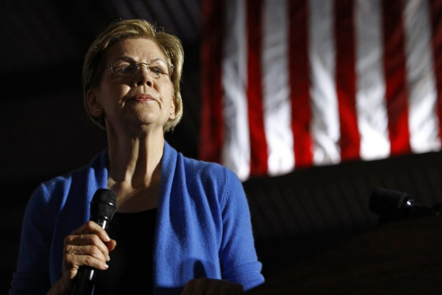 Democratic presidential candidate Sen. Elizabeth Warren, D-Mass., speaks during a primary election night rally, Tuesday, March 3, 2020, at Eastern Market in Detroit.