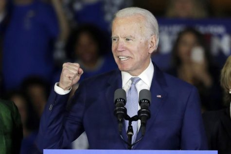 Joe Biden speaks at a primary election campaign rally Tuesday, March 3, 2020.