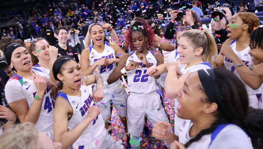 DePaul%27s+women%27s+basketball+team+celebrates+after+winning+the+2020+Big+East+Tournament.