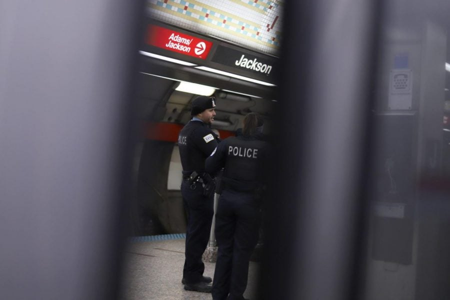 Chicago police at the Jackson Red Line CTA stop.