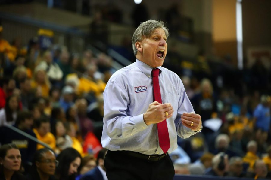 FILE-Head coach Doug Bruno yelling out to his players during the game against Marquette. The Blue Demons shot just 38 percent from the field in their Big East finale.