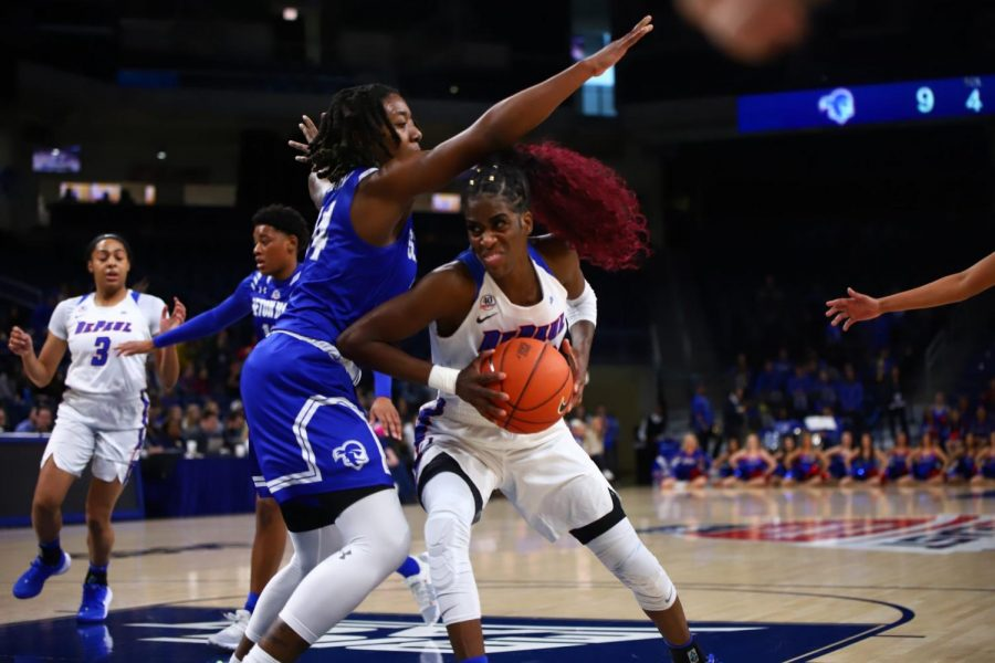Chante Stonewall drives in against Seton Hall, Stonewall scored 18 points while notching seven rebounds in the win.