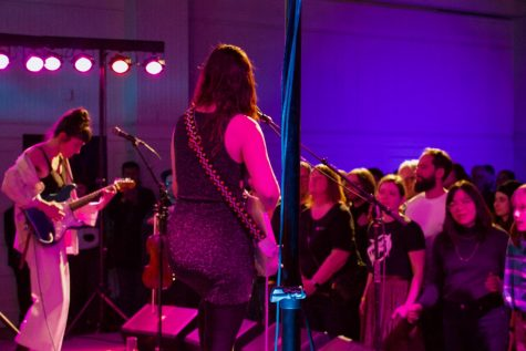 """Ohmme performs at Pitchfork's kickoff event as the festival prepares to celebrate its 15th anniversary. """"Pitchfork is really run by Chicagoans,"""" said Spencer Tweedy, musician."""