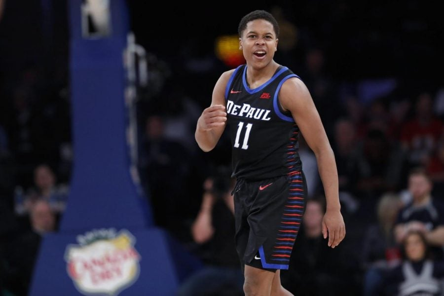 DePaul+guard+Charlie+Moore+reacts+during+the+second+half+of+the+team%27s+%0Athe+first+round+Big+East+Tournament+game+against+Xavier+at+Madison+Square+Garden+on+Wednesday