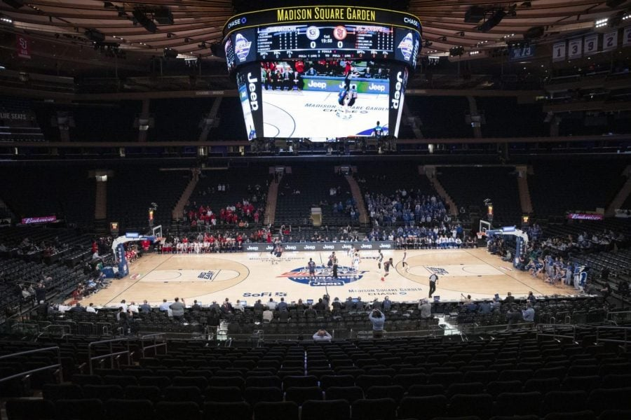 A+few+basketball+fans+watch+as+Creighton+takes+on+St.+John%27s+in+in+the+quarterfinals+of+the+Big+East+tournament+at+Madison+Square+Garden+on+Thursday.