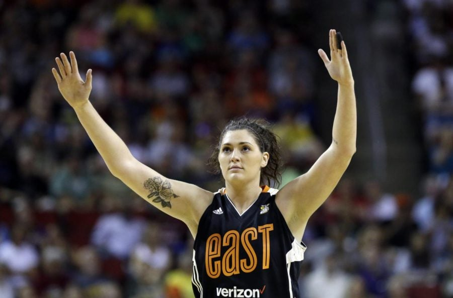 In+this+July+22%2C+2017+file+photo%2C+Chicago+Sky%27s+Stefanie+Dolson+raises+her+hands+in+the+second+half+of+the+WNBA+All-Star+basketball+game+in+Seattle.+Dolson+says+she+tested+positive+for+the+cororavirus.+She+is+the+first+known+Chicago+professional+athlete+and+the+second+WNBA+player+known+to+have+contracted+COVID-19.+Dolson+announced+that+she+caught+the+virus+in+a+video+that+aired+Friday%2C+April+17%2C+2020+during+ESPN%27s+broadcast+of+the+WNBA+draft.