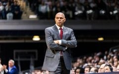 Dave Leitao looks on during the Blue Demons' game against Butler on Feb. 29.