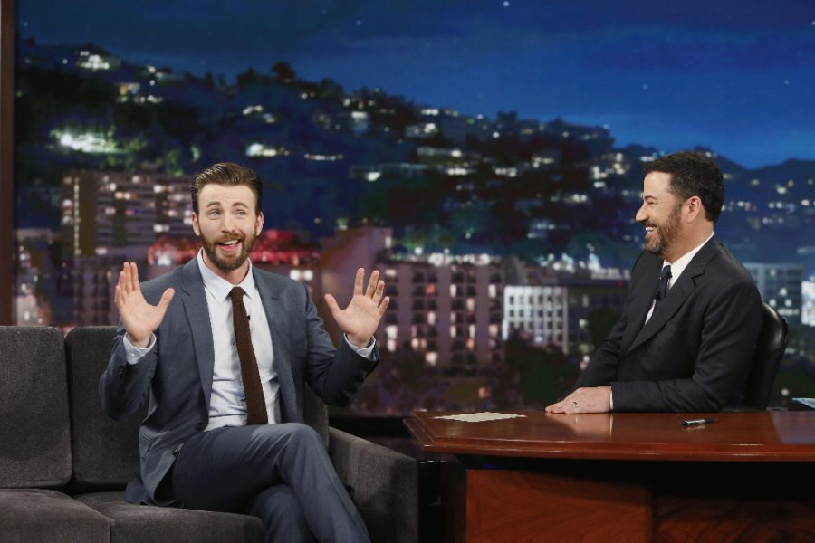 JIMMY+KIMMEL+LIVE+-+%22Jimmy+Kimmel+Live%22+airs+every+weeknight+at+11%3A35+p.m.+EST+and+features+a+diverse+lineup+of+guests+that+include+celebrities%2C+athletes%2C+musical+acts%2C+comedians+and+human+interest+subjects%2C+along+with+comedy+bits+and+a+house+band.+The+guests+for+Monday%2C+April+11%2C+2016+included+Chris+Evans%2C+Sebastian+Stan%2C+Anthony+Mackie%2C+Paul+Rudd+%28%22Captain+America%3A+Civil+War%22%29+and+musical+guest+White+Denim.+%28ABC%2FRandy+Holmes%29%0ACHRIS+EVANS%2C+JIMMY+KIMMEL