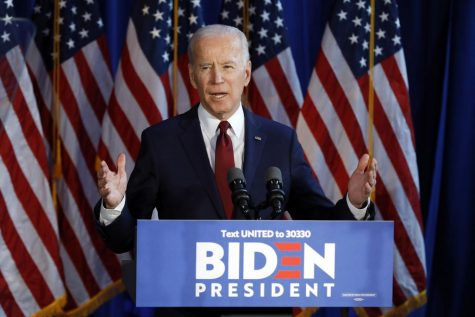 Democratic presidential nominee Joe Biden gestures during a foreign policy statement in New York.
