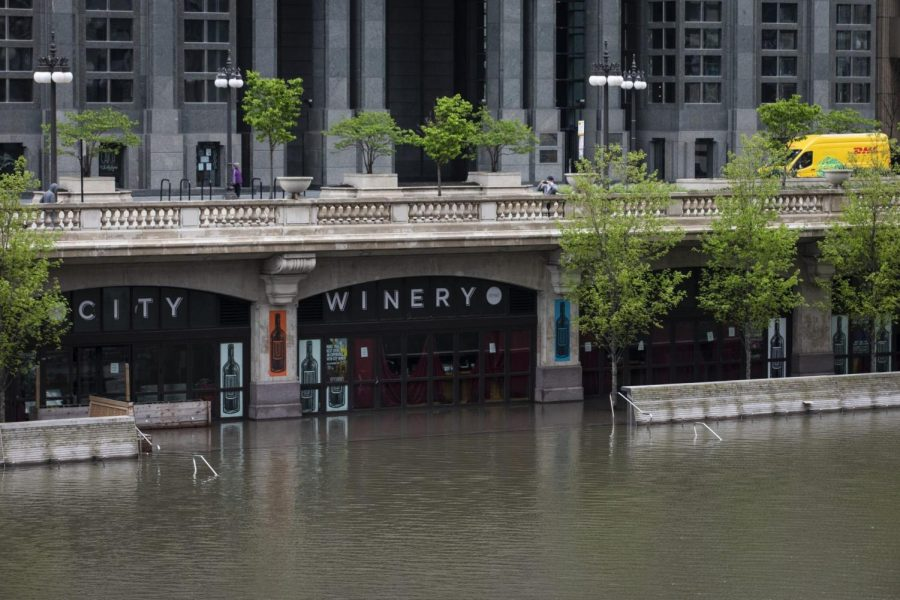 The Chicago River overflowed its banks and flooded the Riverwalk after overnight showers and thunderstorms across the city Monday, May 18, 2020 in Chicago.