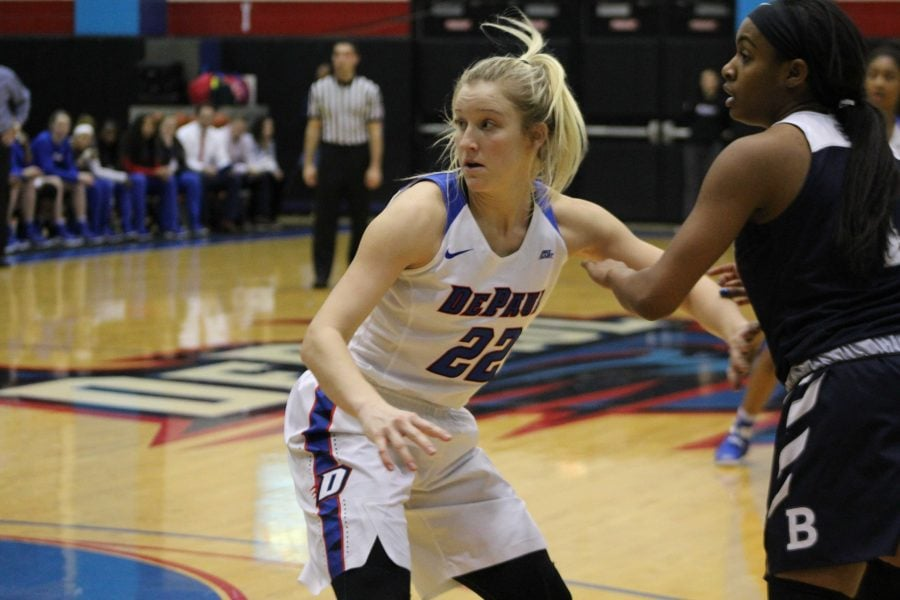 Former+DePaul+guard+Brooke+Schulte+guards+a+Butler+player+on+January+14%2C+2017.
