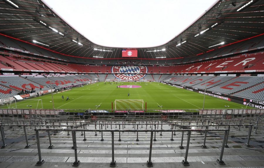 The empty Allianz Arena is seen prior to the German Bundesliga soccer match between Bayern Munich and Eintracht Frankfurt in Munich, Germany, Saturday, May 23, 2020.