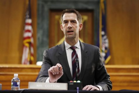 In this May 5, 2020, file photo Sen. Tom Cotton, R-Ark., speaks during a Senate Intelligence Committee nomination hearing for Rep. John Ratcliffe, R-Texas, on Capitol Hill in Washington. Cotton has risen to the ranks of potential 2024 Republican presidential contenders by making all the right enemies. Now, the Arkansas lawmaker is making more by lining up behind President Donald Trump's law and order recipe for controlling civic unrest.