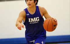 Max Williams dribbles up the basketball for IMG Academy. Williams committed to DePaul on Monday as a preferred walk-on
