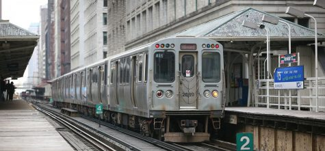 A Red Line train stopped at Randolph in The Loop.