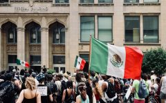 A protester raises the Flag of Mexico/ / Un manifestante alza la bandera de México