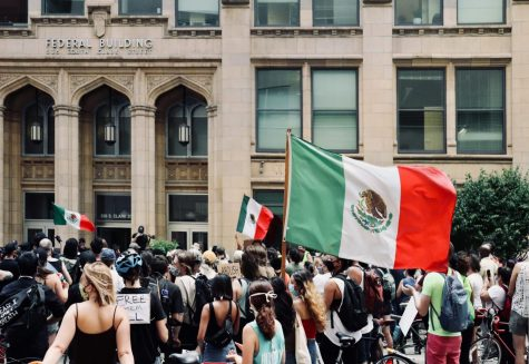 A protester raises the Flag of Mexico.