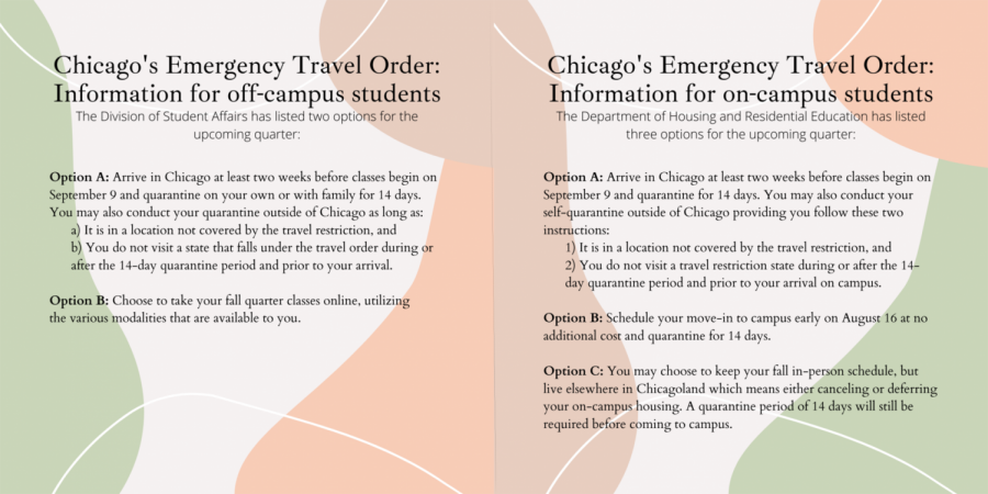 DePaul's options for students living on and off campus regarding Chicago's Emergency Travel Order.