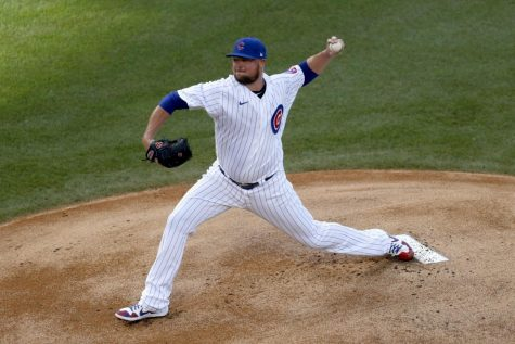 Chicago Cubs starting pitcher Jon Lester delivers during the first inning of a summer camp baseball game against the Minnesota Twins Wednesday, July 22, 2020, in Chicago.