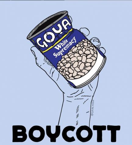 Miles de personas presionan por un boicot nacional de los productos Goya después de que el presidente de Goya, Robert Unanue, se reunió con el presidente Donald Trump en Julio. Artista Grae Rosa demostró su frustración a través de su arte luego de