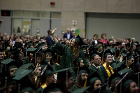 Students at College of DuPage gather for Commencement in 2018.