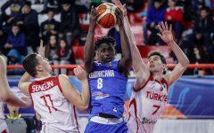 David Jones goes up to grab a rebound against Turkey in the 2018 U17 FIBA World Cup