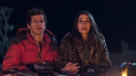"Andy Samberg and Cristin Milioti star in ""Palm Springs"", now available on Hulu."