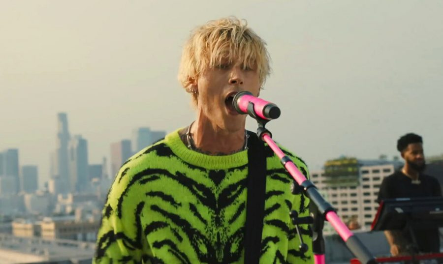 In this video grab issued Sunday, Aug. 30, 2020, by MTV, Machine Gun Kelly performs prior to the start of the MTV Video Music Awards. (MTV via AP)