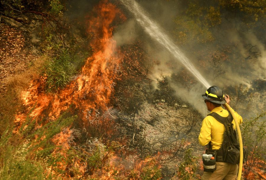 A+firefighter+puts+out+a+hot+spot+along+Highway+38+northwest+of+Forrest+Falls%2C+Calif.%2C+as+the+El+Dorado+Fire+continues+to+burn+Thursday+afternoon%2C+Sept.+10%2C+2020.+The+fire+started+by+a+device+at+a+gender+reveal+party+on+Saturday.+%28Will+Lester%2FThe+Orange+County+Register%2FSCNG+via+AP%29