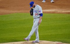 Chicago Cubs starting pitcher Jon Lester kicks the mound after Chicago White Sox's James McCann hit a solo home run during the second inning of a baseball game in Chicago, Saturday, Sept. 26, 2020. (AP Photo/Nam Y. Huh)