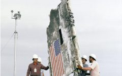 STS-51L Challenger wreckage remains and boxes of debris being lowered into abandoned Minuteman Missile Silos at Complex 31 on Cape Canveral Air Force Station.