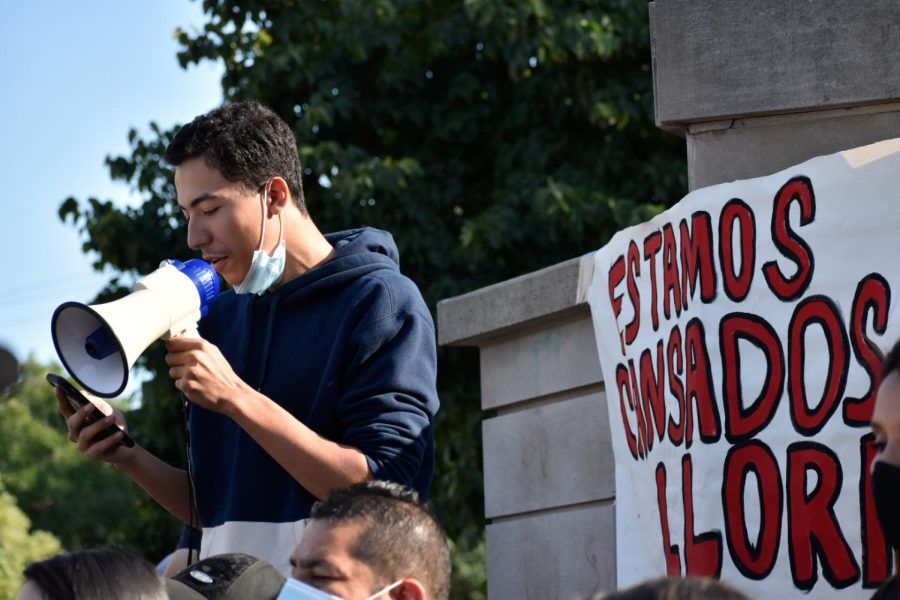 Miguel Vega's brother, Johnny Vega, reads out a statement from the family at a march on September 5th in Pilsen.