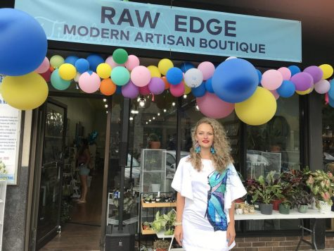 Maria Belokurova standing infront of her business Raw Edge which opened up this summer in Lincoln Square.
