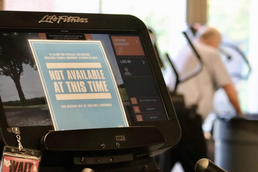 Available ellipticals at the Ray Meyer Fitness Center have been spaced out to abide by social distancing guidelines.